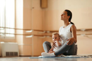 mom and baby taking a pause after an exercise
