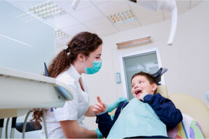 young boy dental check up